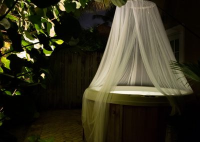 Hot tub with mosquito netting